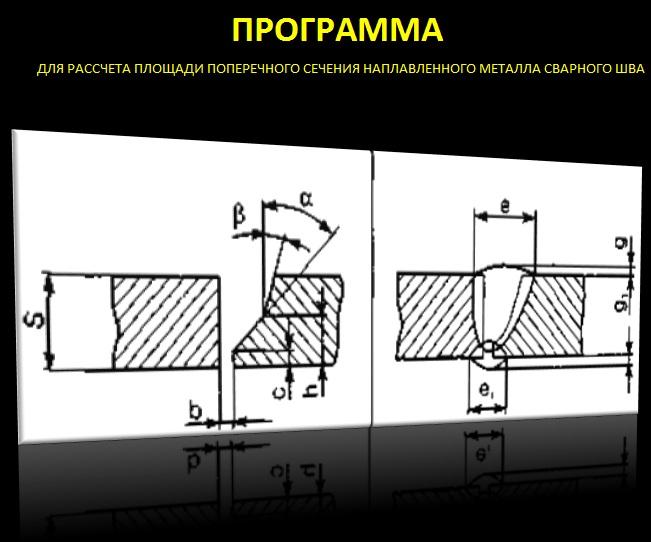 расчет поперечного сечения сварного шва, поперечное сечение сварного шва, площать поперечного сечения, формула расчета поперечного сечения